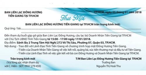 THƯ MỜI THAM DỰ ĐẠI HỘI ĐẠI BIỂU CLB DOANH NHÂNTIỀN GIANG TẠI TP.HCM (TGB) NHIỆM KỲ II (2018-2021)