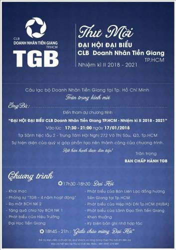 THƯ MỜI THAM DỰ – ĐẠI HỘI ĐẠI BIỂU CLB DOANH NHÂNTIỀN GIANG TẠI TP.HCM (TGB) NHIỆM KỲ II (2018-2021)
